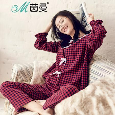 茵曼内衣 田园格纹娃娃领蕾丝花边家居服套装女睡衣 98734830405·红格