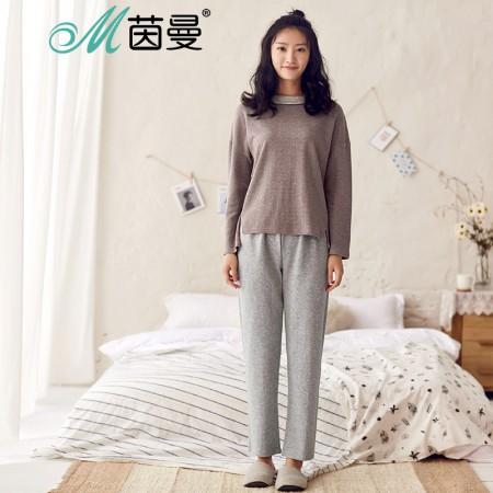 茵曼内衣 新款棉质休闲撞色睡衣家居服套装女秋 98734830414·棕色