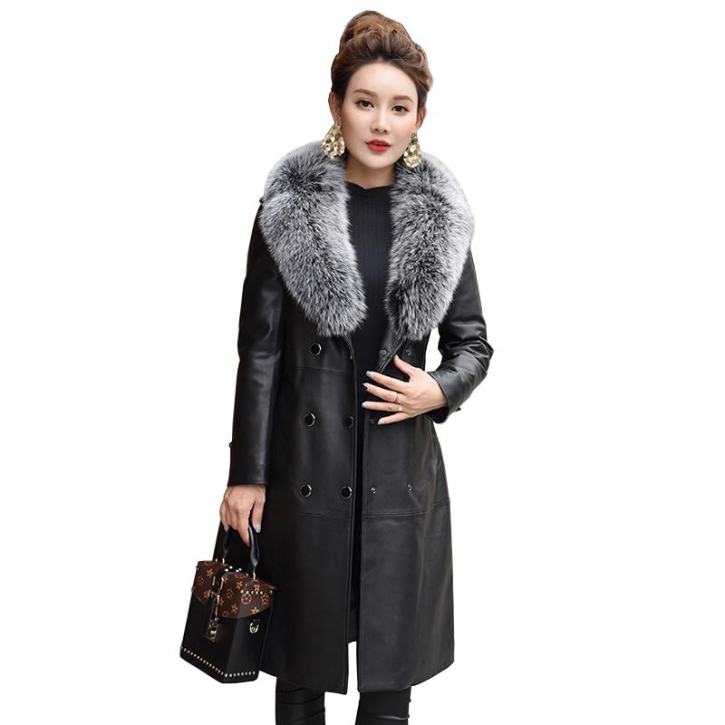 今升 狐狸毛领双排扣绵羊皮羽绒服中长款·黑色