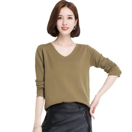 多多的世界鸡心领纯羊毛修身短款毛衣DD17170·松石绿