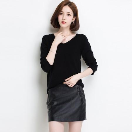 多多的世界鸡心领纯羊毛修身短款毛衣DD17170·珍珠黑
