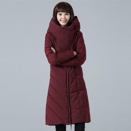 丝朵之丽 时尚修身连帽羽绒服·酒红色