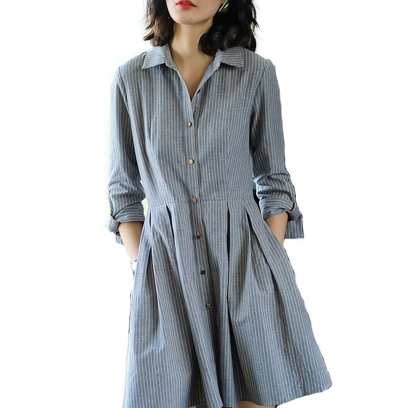 丁摩 亚麻条纹衬衫单排扣大摆连衣裙2104·图色