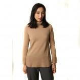 丁摩 羊绒高翻领平面羊绒衫W013·驼色