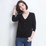 丁摩 新款兔绒V领羊毛衫0214·黑色