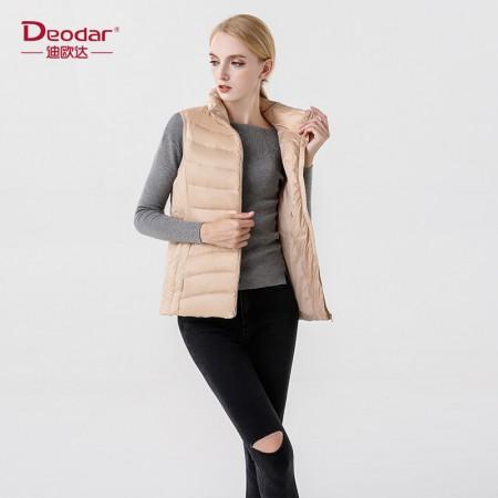 迪欧达  冬季立领修身短款羽绒马甲·米白