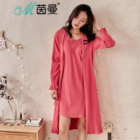 茵曼内衣 两件套性感绣花保暖针织睡裙家居套装女秋 98734830435·西瓜红