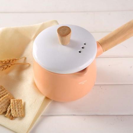 HIGHCOOK韩库 马卡龙小奶锅1.2升·奶油橘
