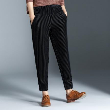 莺卡 加厚条绒哈伦裤·黑色