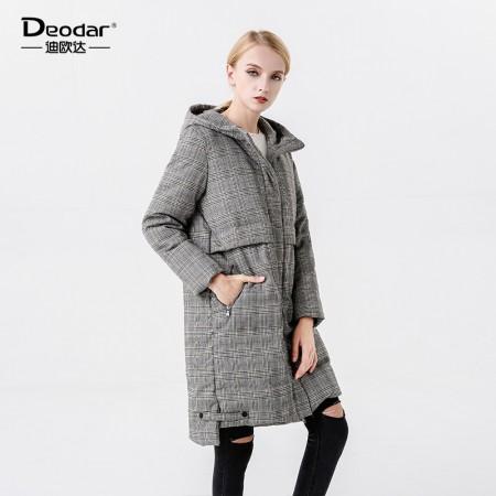 迪欧达 女士格纹鹅绒服·藏青