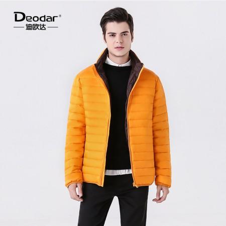 迪欧达 男士撞色鹅绒服·橙色