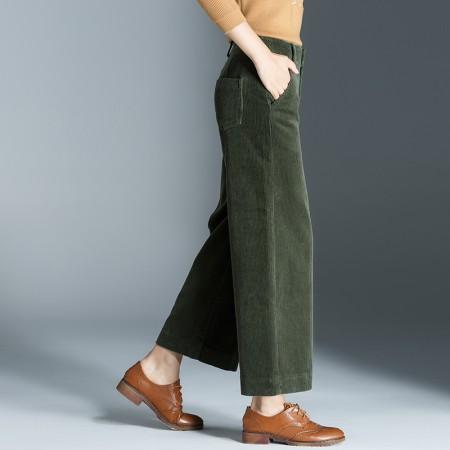 莺卡灯芯绒中腰阔腿裤·绿色