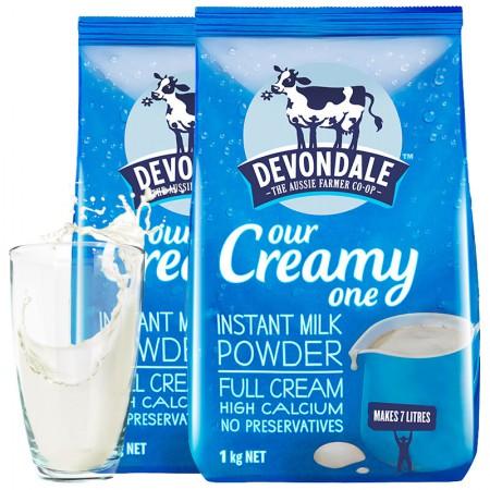 保税区直发 澳大利亚Devondale德运高钙全脂成人牛奶粉1kg*2袋组