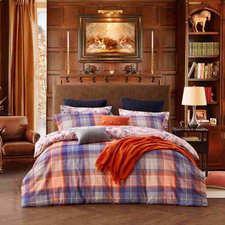 LOVO家纺秘密花园全棉磨毛加厚 5尺 床上用品四件套(罗莱生活出品)