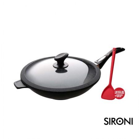 意大利SIRONI进口复底磐石不粘锅炒锅 家用炒锅32cm 无油烟加厚电磁炉适用