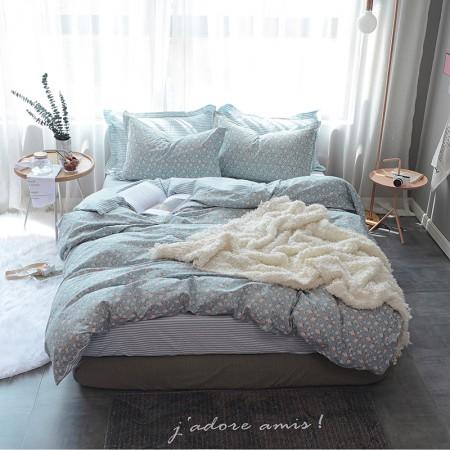 莱薇 美式精梳棉全棉印花四件套5尺床(繁花点点)·繁花点点