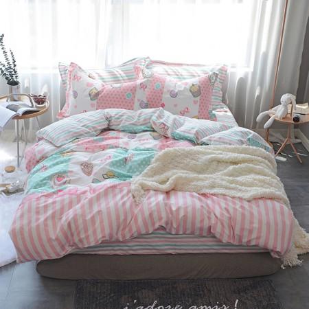 莱薇 美式精梳棉全棉印花四件套5尺床(美味回忆)·美味回忆