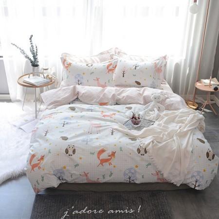 莱薇 美式精梳棉全棉印花四件套5尺床(萌宠乐园)·萌宠乐园