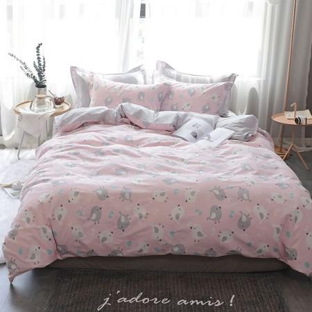 莱薇 美式精梳棉全棉印花四件套5尺床(小鸡起舞)·小鸡起舞