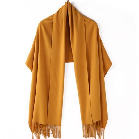 【亲肤保暖】丁摩 新款羊绒素色溜须披肩围巾·黄色