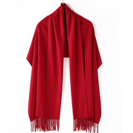【亲肤保暖】丁摩 新款羊绒素色溜须披肩围巾·枣红