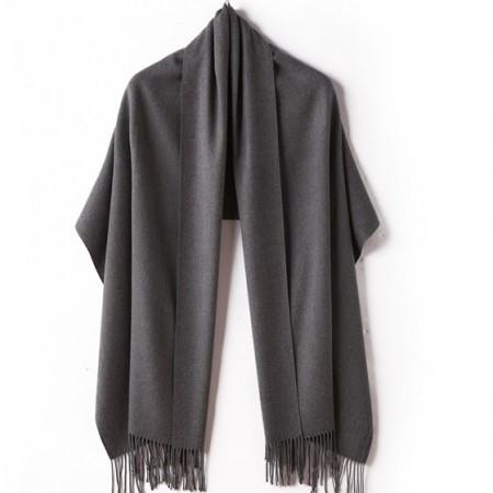 【亲肤保暖】丁摩 新款羊绒素色溜须披肩围巾·灰色