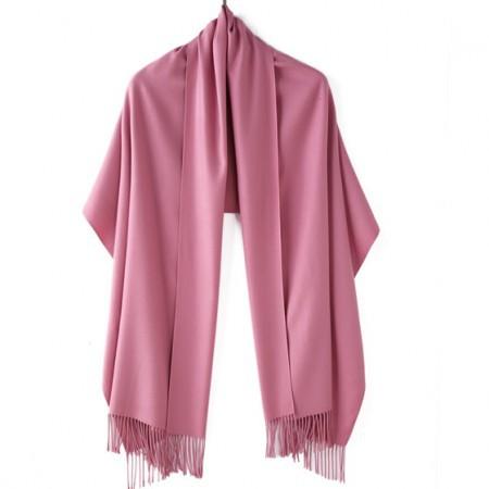 【亲肤保暖】丁摩 新款羊绒素色溜须披肩围巾·橡皮红