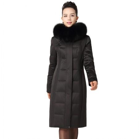 今升 奢华狐狸毛领加厚连帽修身白鹅绒冬季羽绒服长款·黑色