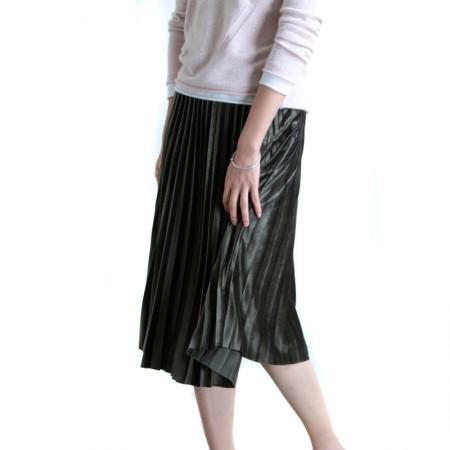 SSYAOGE 金丝绒百褶金属拉环腰带中长款A字半身裙703·绿色