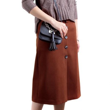 SSYAOGE 开叉排扣修身包臀毛呢半身裙中长款高腰A字裙1138·咖色