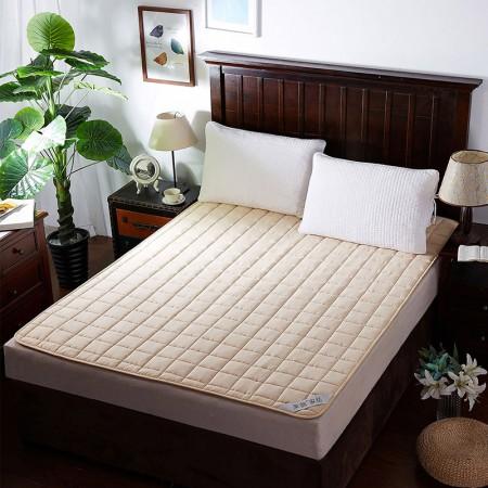 莱薇 可水洗床褥床垫加厚席梦思保护垫(米黄)150*200cm·米黄