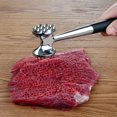 美之扣 厨房敲肉锤不锈钢断筋器·黑柄双面肉锤