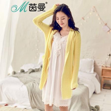 茵曼内衣 舒适系带糖果色保暖睡衣家居服外套女秋 98744830444·黄色