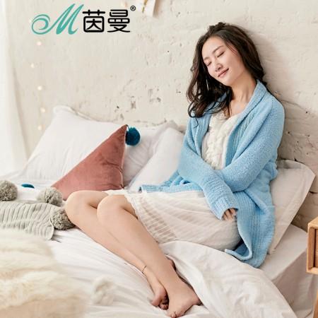 茵曼内衣 舒适系带糖果色保暖睡衣家居服外套女秋 98744830444·兰色