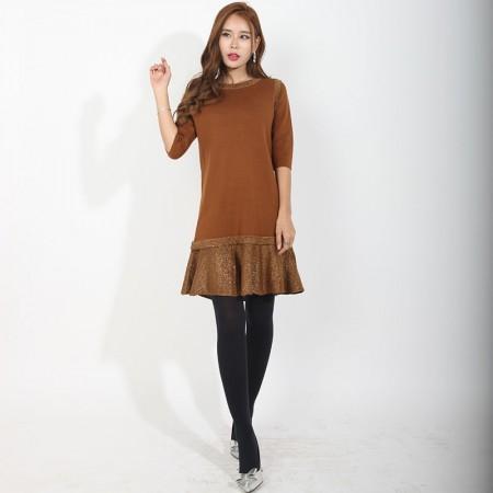 尚浓半袖褶皱裙摆圆领中长款针织衫鱼尾摆连衣裙·焦糖