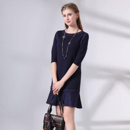 尚浓半袖褶皱裙摆圆领中长款针织衫鱼尾摆连衣裙·上青