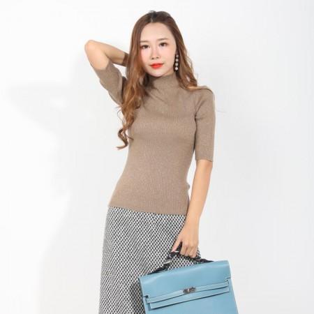 尚浓时尚金银丝半高领修身露肩螺纹七分袖打底衫针织衫·米驼