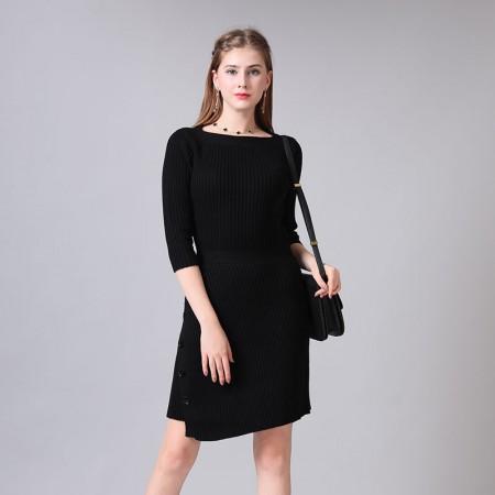 尚浓修身半开领螺纹钉扣斜摆迪奥款九分袖针织连衣裙·黑色