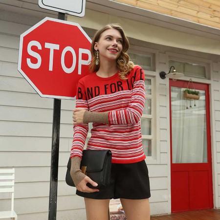 尚浓杨幂同款条纹圆领拼接字母金银丝袖口长袖针织衫打底衫长袖·红色