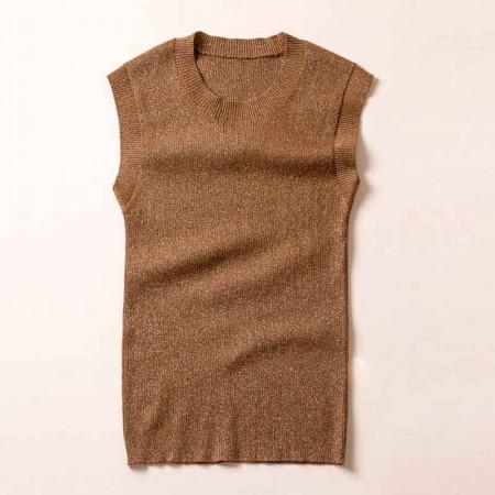 尚浓修身无袖圆领金银丝针织背心针织衫打底衫·焦糖