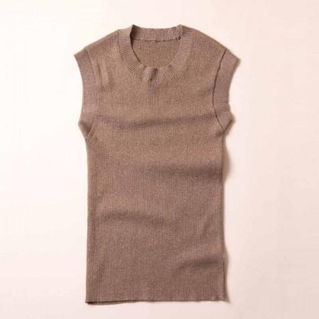 尚浓修身无袖圆领金银丝针织背心针织衫打底衫·米驼