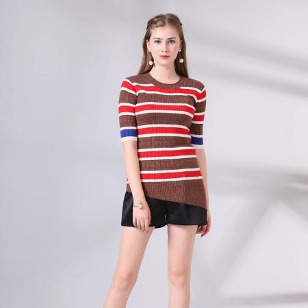 尚浓时尚条纹修身圆领中袖斜摆针织衫打底衫·红色