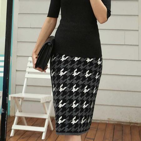 尚浓拼接绣花条纹中腰千鸟格半身裙针织半裙中长款·黑色