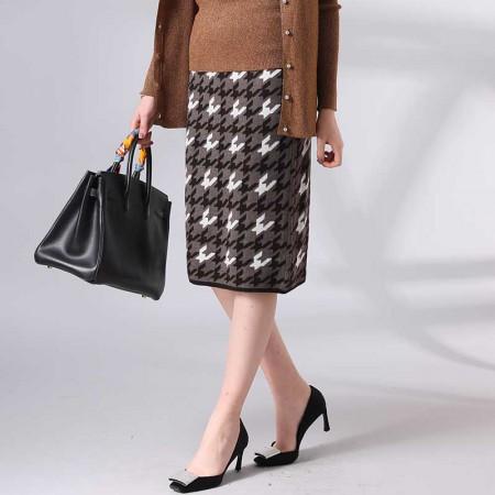 尚浓拼接绣花条纹中腰千鸟格半身裙针织半裙中长款·咖啡色