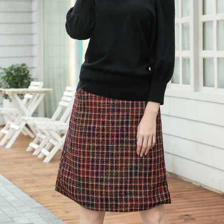 尚浓灯笼纱梭织中腰A字裙格子半身裙中长款·段染红