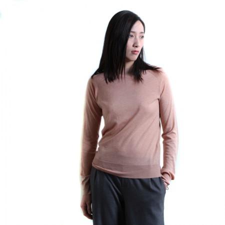 SSYAOGE 羊毛打底衫半高领修身毛衣1839·米色