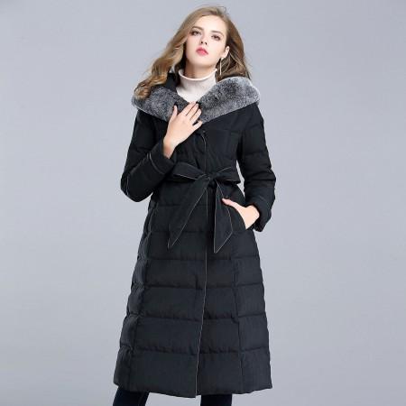 漫丽依 冬款大獭兔毛领加厚中长款羽绒服·黑色