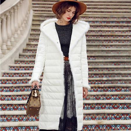 多多的世界 欧美白鸭绒貂毛修身系带羽绒服DD3147· 白色