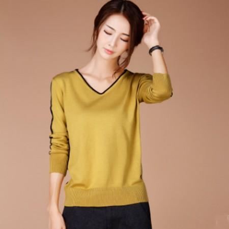 韩潮袭人 韩版V领纯色修身显瘦打底衫SW199· 姜黄色