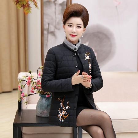寻蔻年华中老年女装轻薄短款羽绒棉服3718·黑色